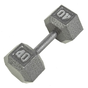 40 LB Cast Iron Hex Dumbbell