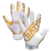 Battle Ultra Stick Receiver Football Gloves - Adult White/Gold