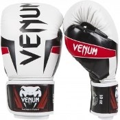 "Venum ""Elite"" Boxing Gloves - White/Black/Red"