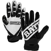 Battle Ultra Stick Receiver Football Gloves - Adult Black/White